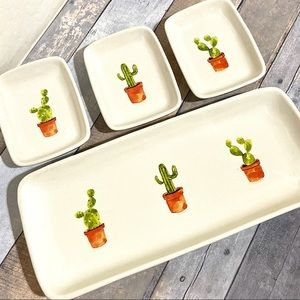 Rae Dunn Cactus 4 Pc Serving Platter Dishes